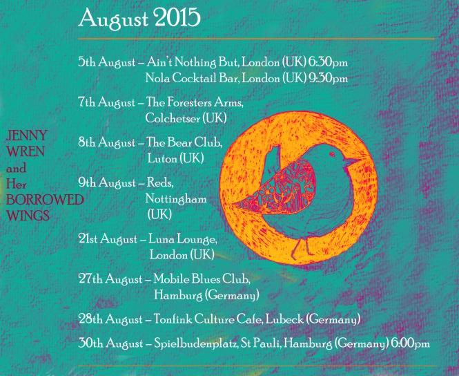 August 2015 Tour Dates